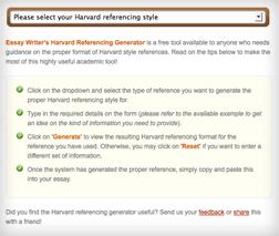 Essay Writer's Harvard Referencing Generator